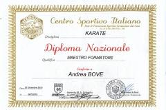 Diploma_CSI_maestro_formatore_karate_Andrea_Bove